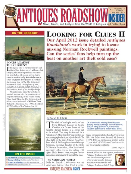 Antiques Roadshow Insider Cover - 1/1/2013