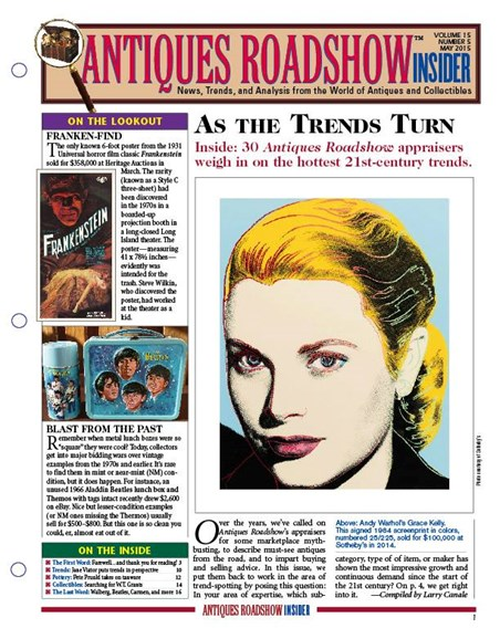 Antiques Roadshow Insider Cover - 5/1/2015