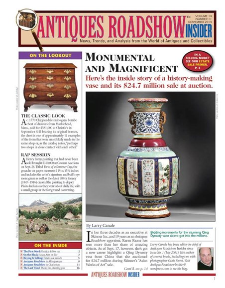 Antiques Roadshow Insider Cover - 11/1/2014