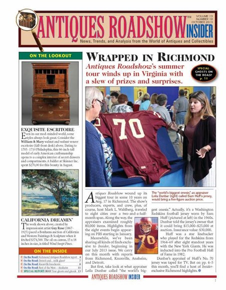 Antiques Roadshow Insider Cover - 10/1/2013