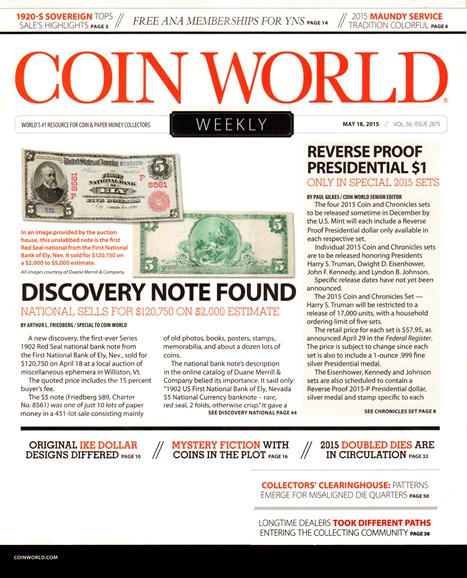 Coin World Weekly Cover - 5/18/2015