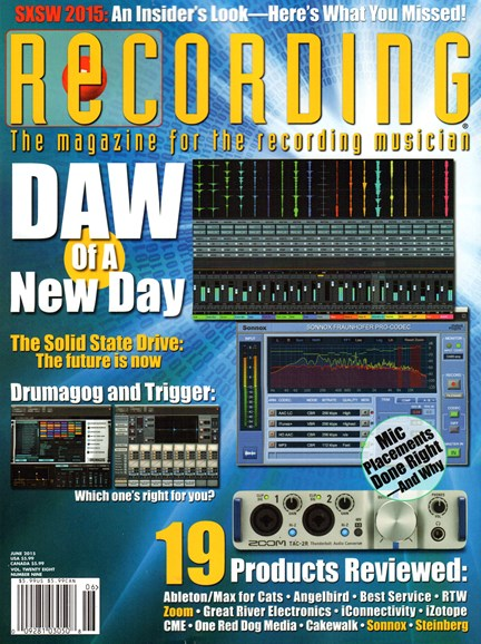 Recording Magazine Cover - 6/1/2015