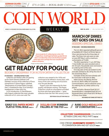 Coin World Weekly Cover - 5/25/2015