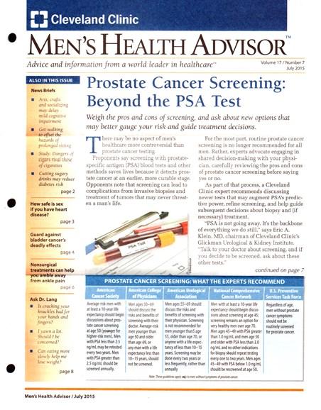 Men's Health Advisor Cover - 7/1/2015