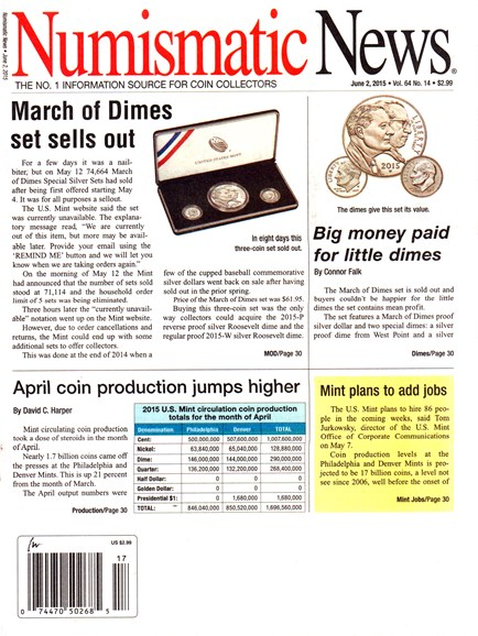 Numismatic News Cover - 6/2/2015