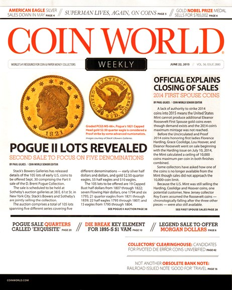 Coin World Weekly Cover - 6/22/2015