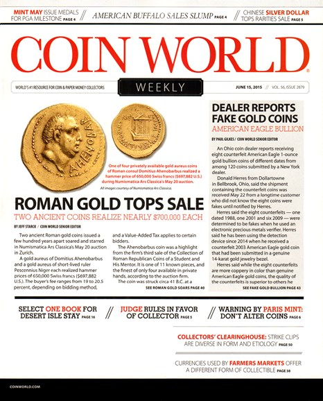 Coin World Weekly Cover - 6/15/2015