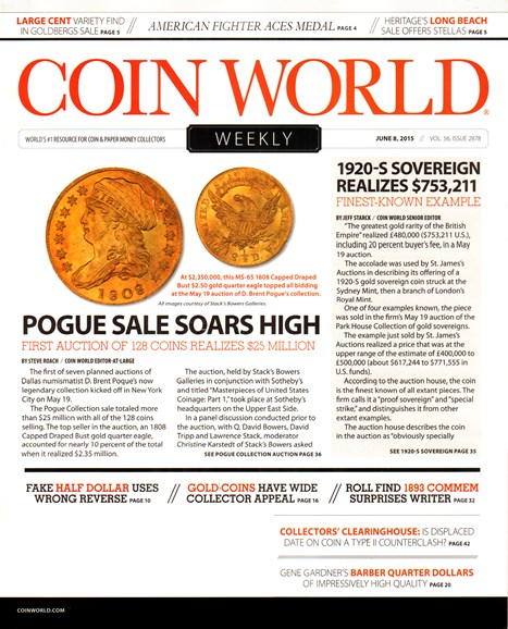 Coin World Weekly Cover - 6/8/2015