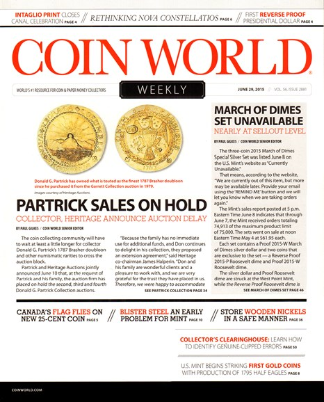 Coin World Weekly Cover - 6/29/2015