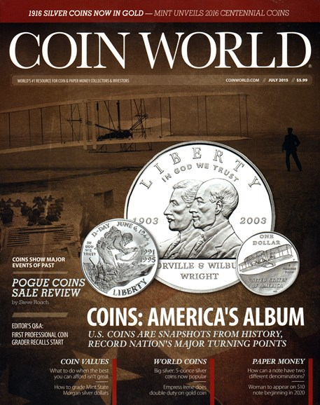 Coin World Weekly Cover - 7/1/2015