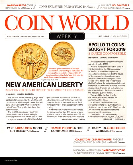 Coin World Weekly Cover - 7/13/2015