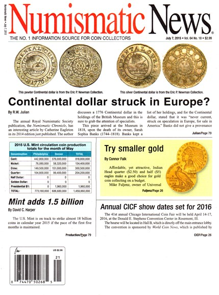 Numismatic News Cover - 7/7/2015