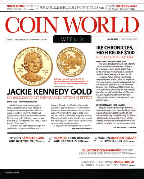 Coin World Weekly Cover - 7/27/2015