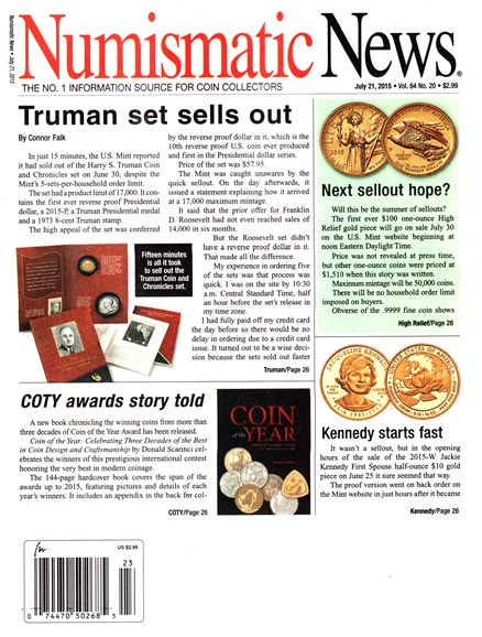 Numismatic News Cover - 7/21/2015