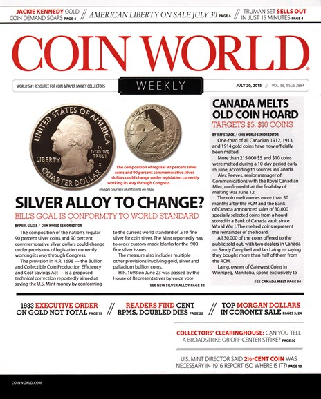 Coin World Weekly Cover - 7/20/2015