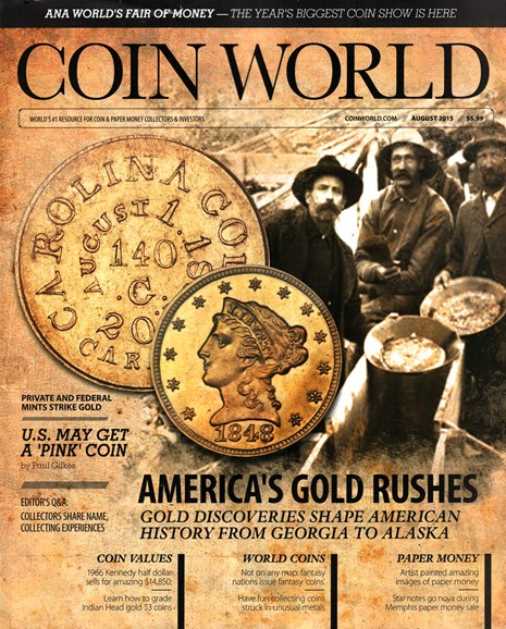 Coin World Weekly Cover - 8/1/2015