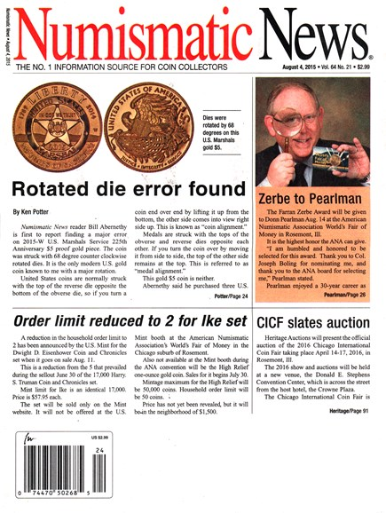 Numismatic News Cover - 8/4/2015