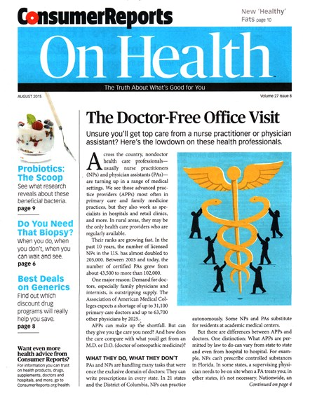 Consumer Reports On Health Cover - 8/1/2015