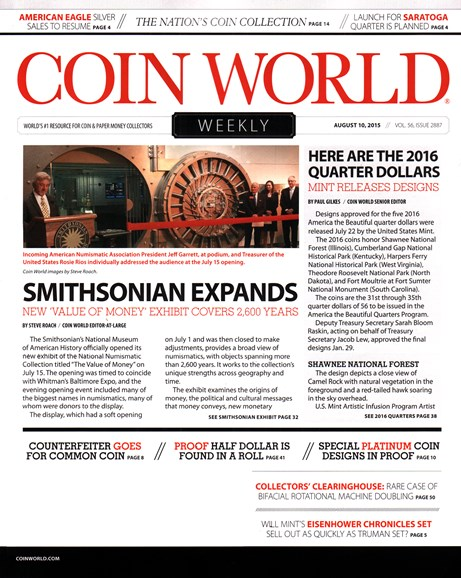 Coin World Weekly Cover - 8/10/2015