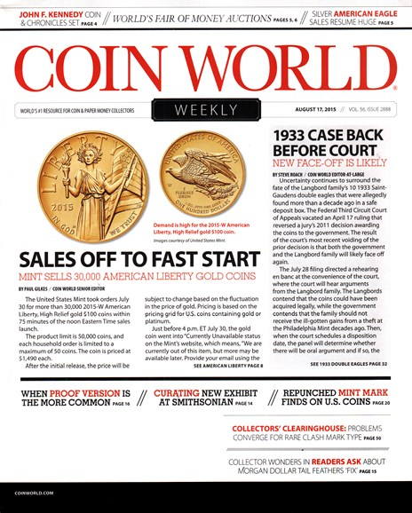 Coin World Weekly Cover - 8/17/2015