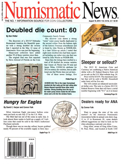 Numismatic News Cover - 8/18/2015