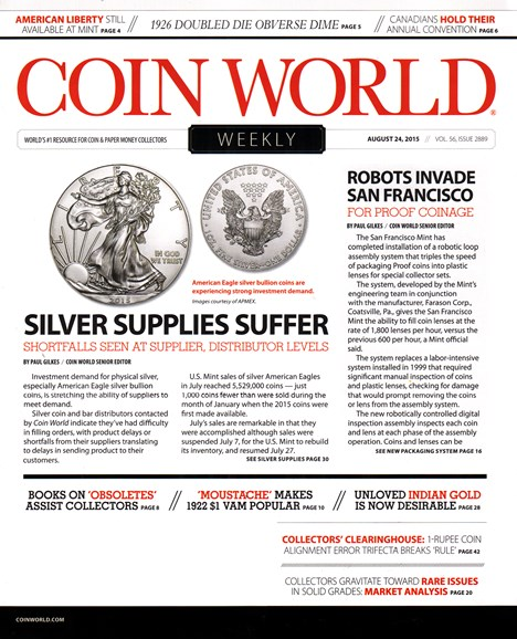 Coin World Weekly Cover - 8/24/2015