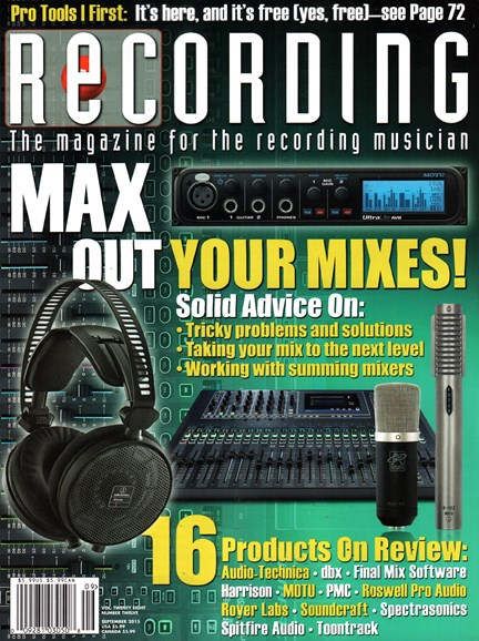 Recording Magazine Cover - 9/1/2015