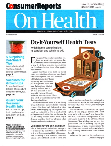 Consumer Reports On Health Cover - 9/1/2015