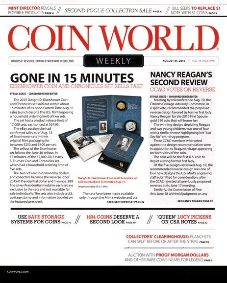 Coin World Weekly Cover - 8/31/2015