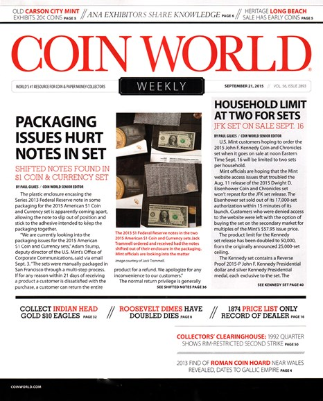 Coin World Weekly Cover - 9/21/2015