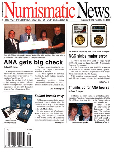 Numismatic News Cover - 9/8/2015