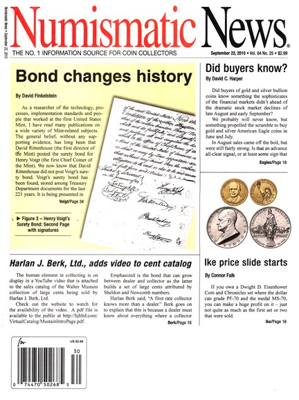 Numismatic News Cover - 9/22/2015