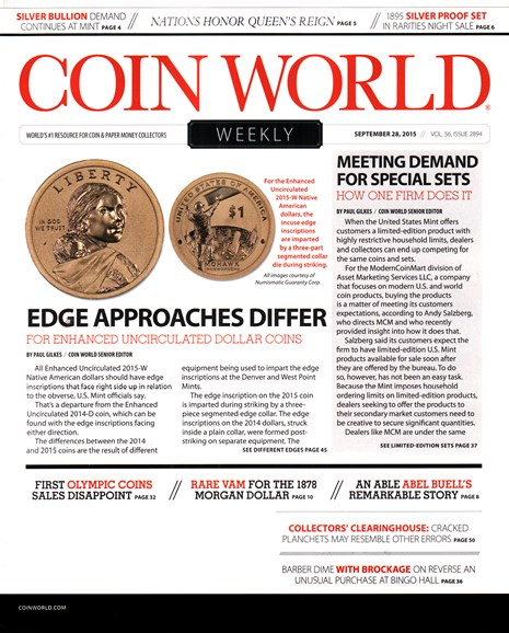 Coin World Weekly Cover - 9/28/2015