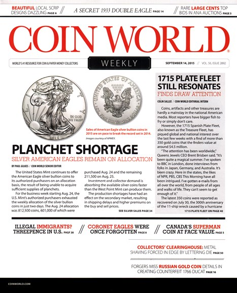Coin World Weekly Cover - 9/14/2015