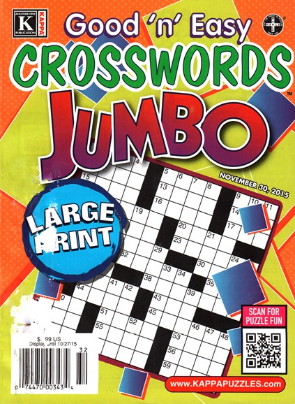Good N Easy Crosswords Jumbo Cover - 11/30/2015