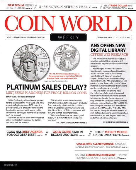 Coin World Weekly Cover - 10/12/2015