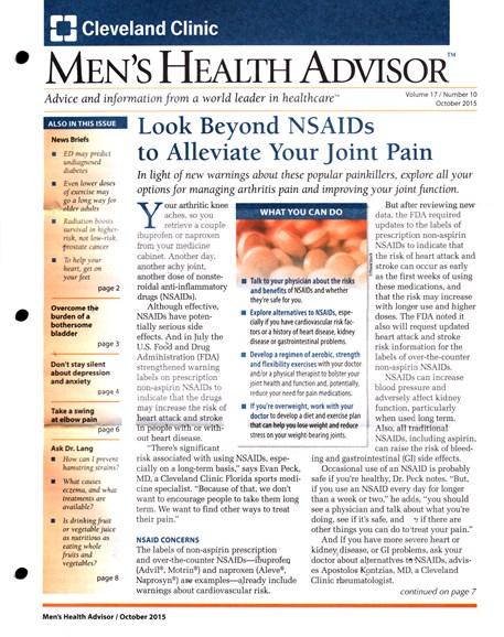 Men's Health Advisor Cover - 10/1/2015