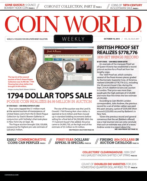Coin World Weekly Cover - 10/19/2015