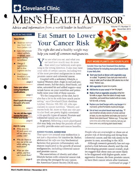 Men's Health Advisor Cover - 11/1/2015