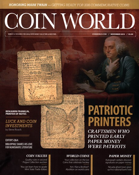 Coin World Weekly Cover - 11/1/2015