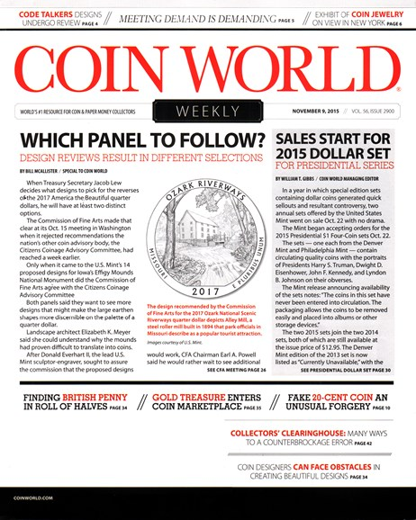 Coin World Weekly Cover - 11/9/2015