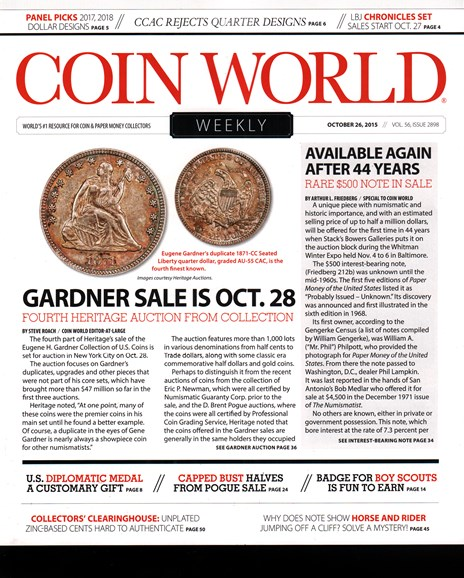 Coin World Weekly Cover - 10/26/2015