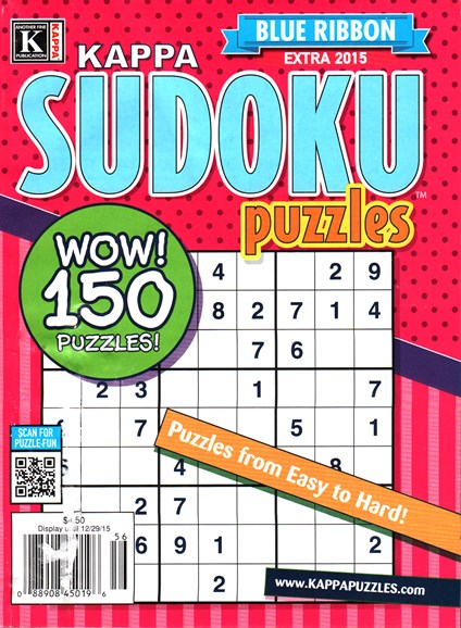 Blue Ribbon Kappa Sudoku Puzzles Cover - 10/1/2015