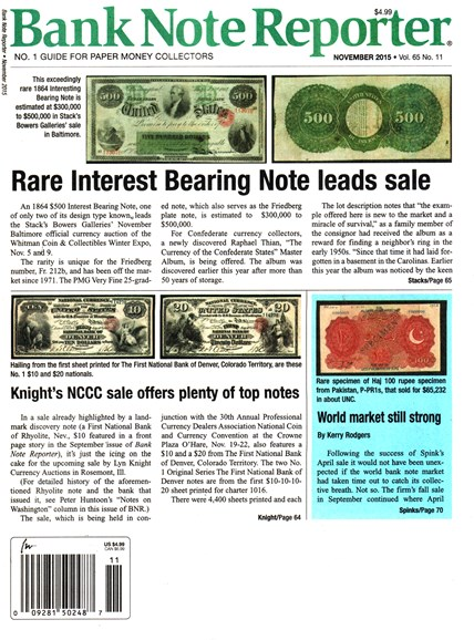 Bank Note Reporter Cover - 11/1/2015