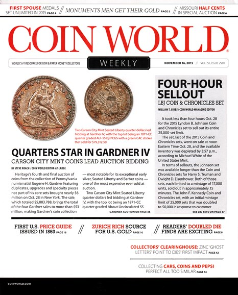 Coin World Weekly Cover - 11/16/2015