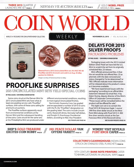 Coin World Weekly Cover - 12/23/2015