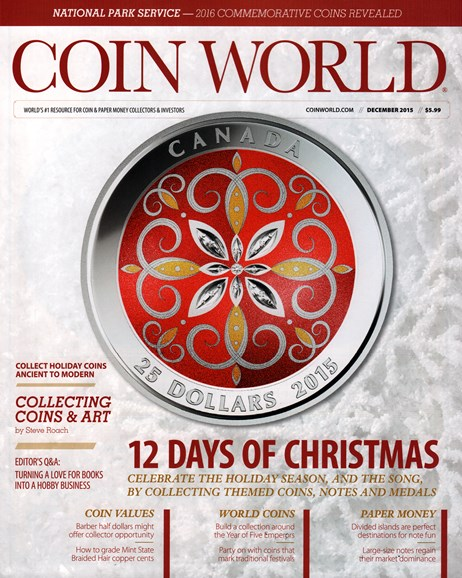 Coin World Weekly Cover - 12/1/2015