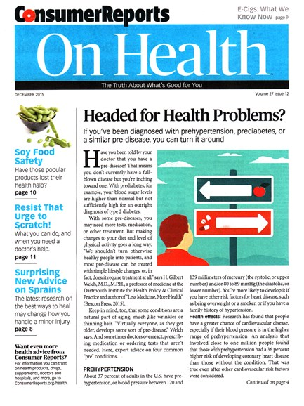 Consumer Reports On Health Cover - 12/1/2015