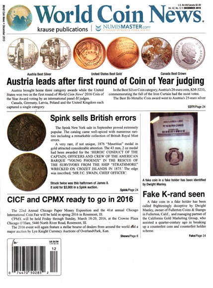 World Coin News Cover - 12/1/2015