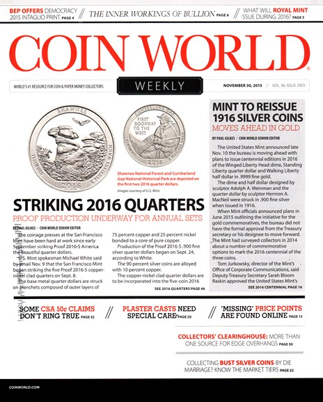 Coin World Weekly Cover - 11/30/2015